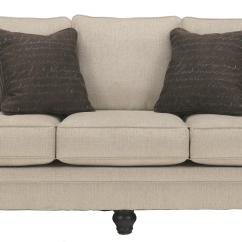 Traditional Sofa Sleeper Leather With Wood Trim Signature Design By Ashley Milari Linen 1300039 Transitional Queen