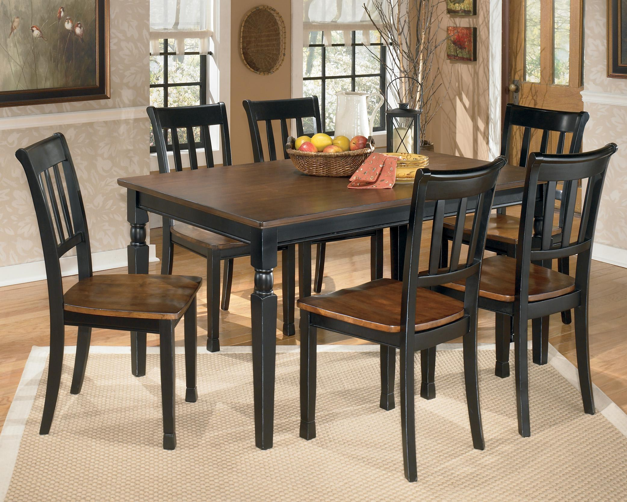 dining table set 6 chairs eddie bauer high chair replacement pad signature design by ashley owingsville 7 piece rectangular