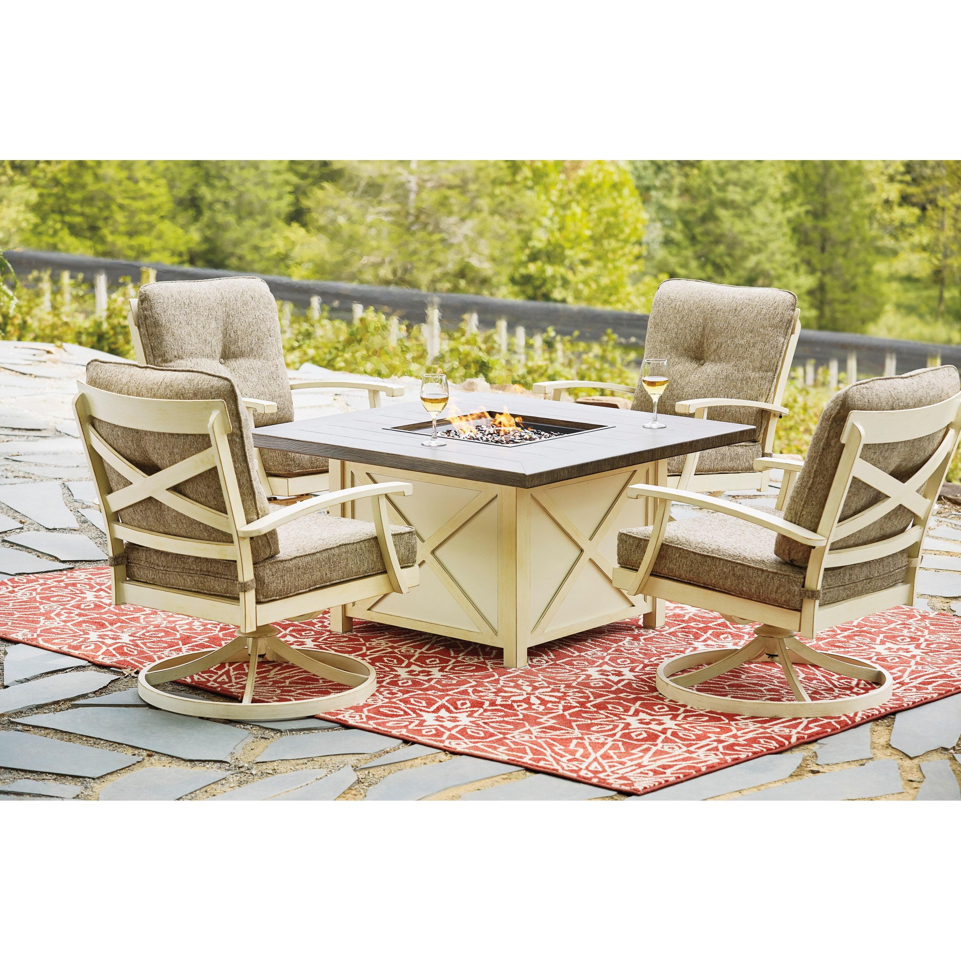 preston bay outdoor firepit table set