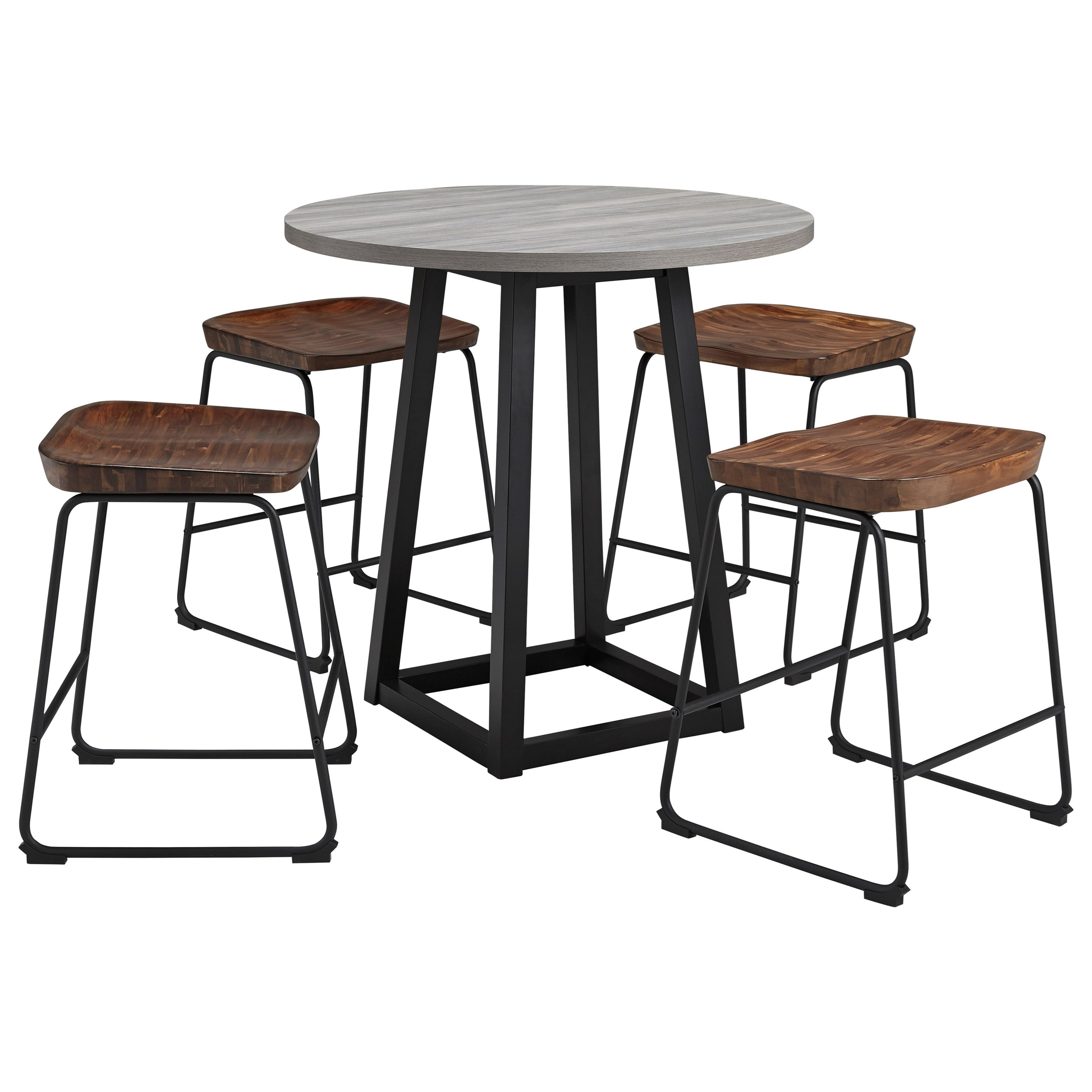 Ashley Furniture Signature Design Showdell 5 Piece Counter Height Dining Table Set Del Sol Furniture Pub Table And Stool Sets