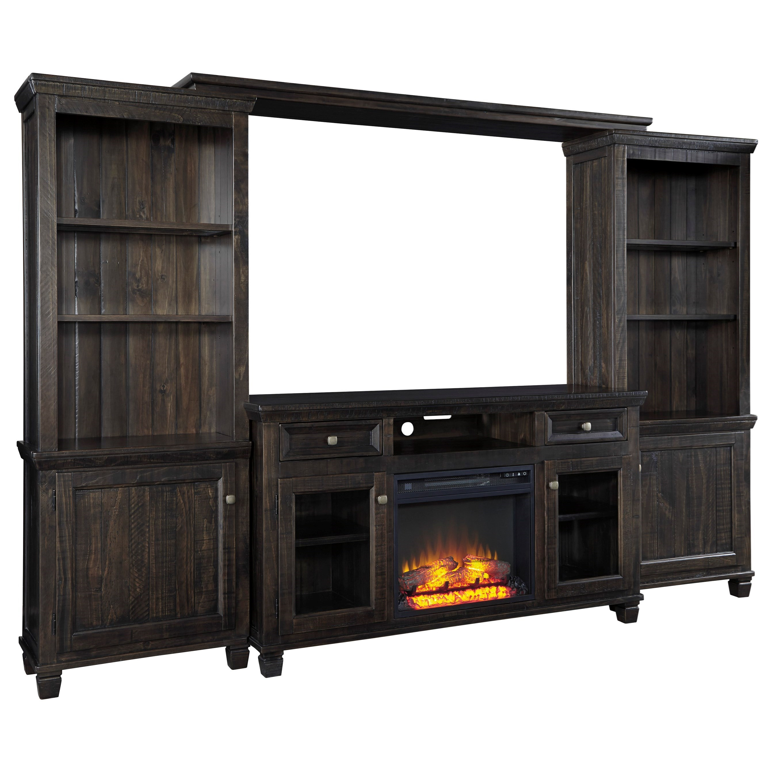 Signature Design by Ashley Townser Entertainment Center w Fireplace Insert  Del Sol Furniture