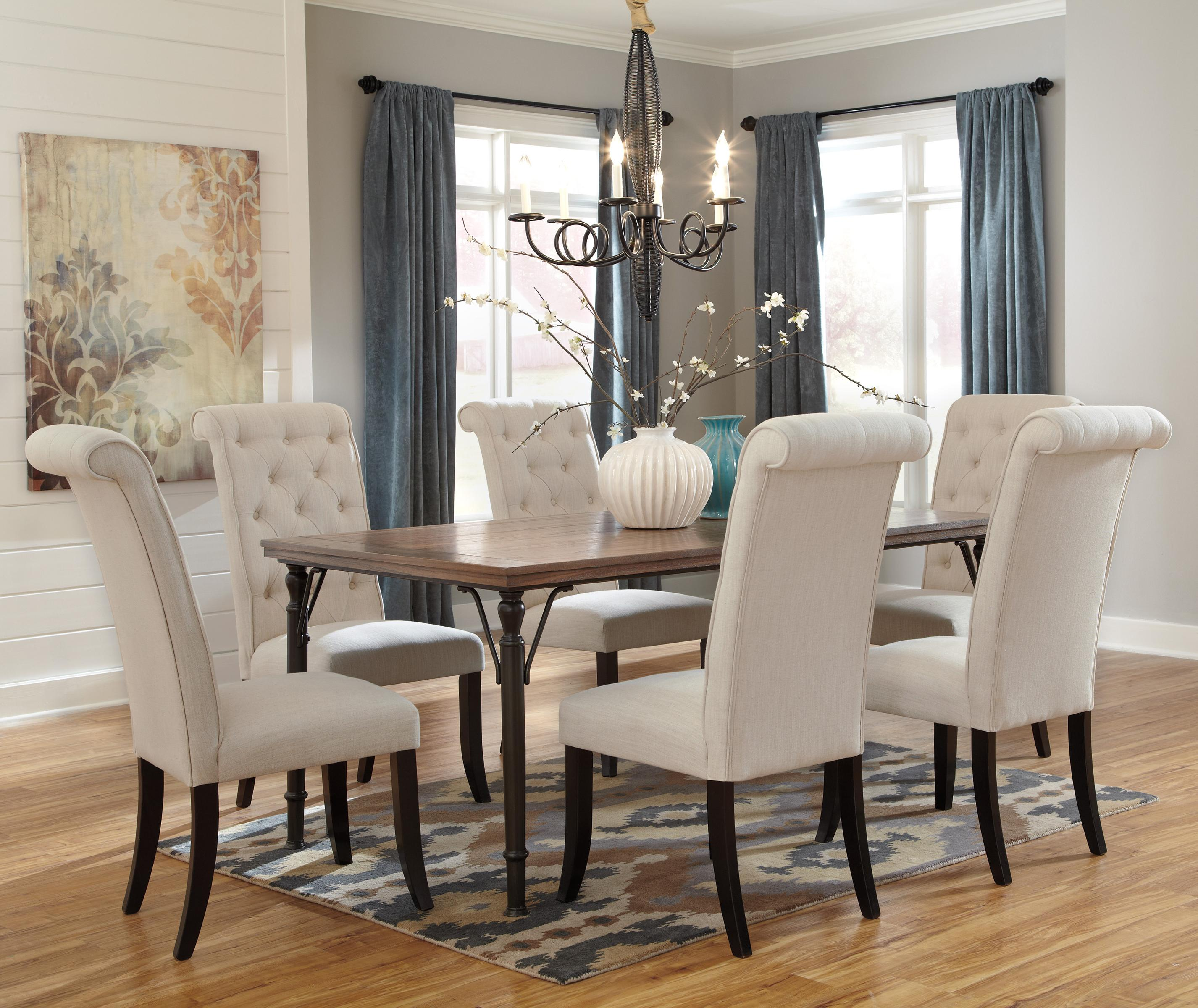 Signature Design by Ashley Tripton 7Piece Rectangular Dining Room Table Set w Wood Top  Metal
