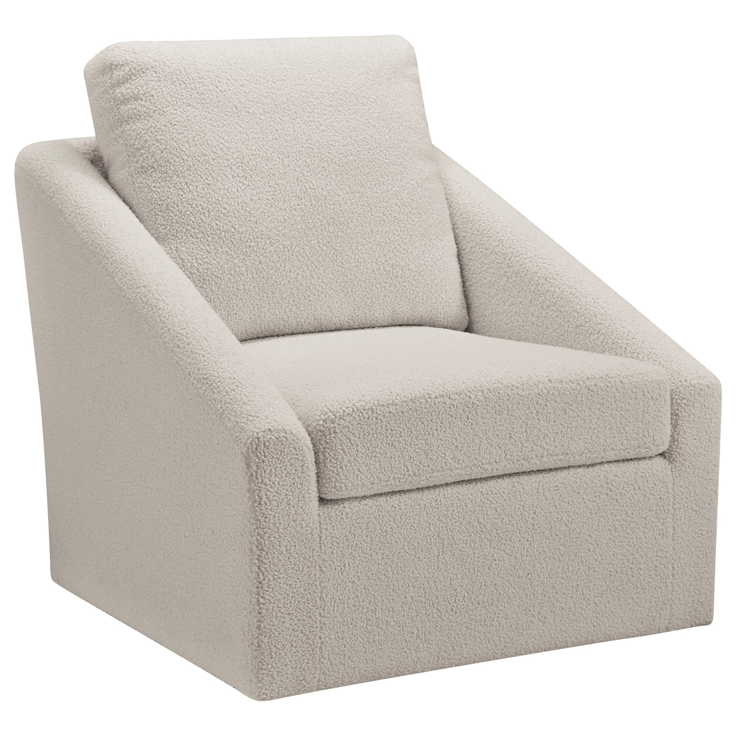 Signature Design By Ashley Wysler Swivel Accent Chair In Cream Sherpa Fabric Royal Furniture Upholstered Chairs