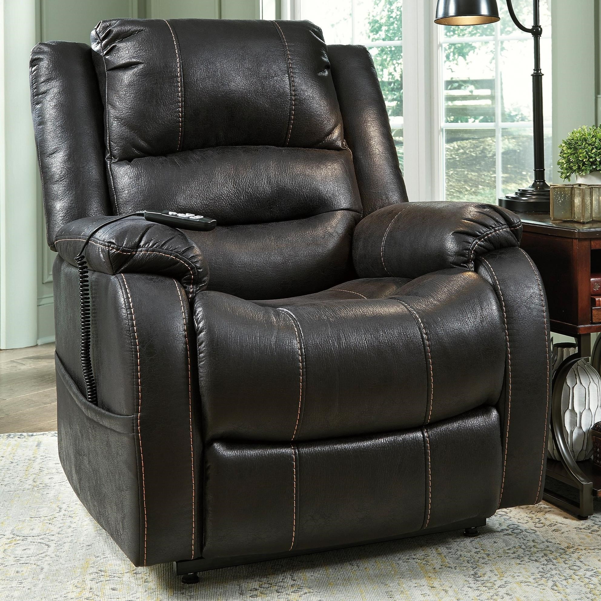 power lift chair folding with umbrella signature design by ashley yandel faux leather recliner