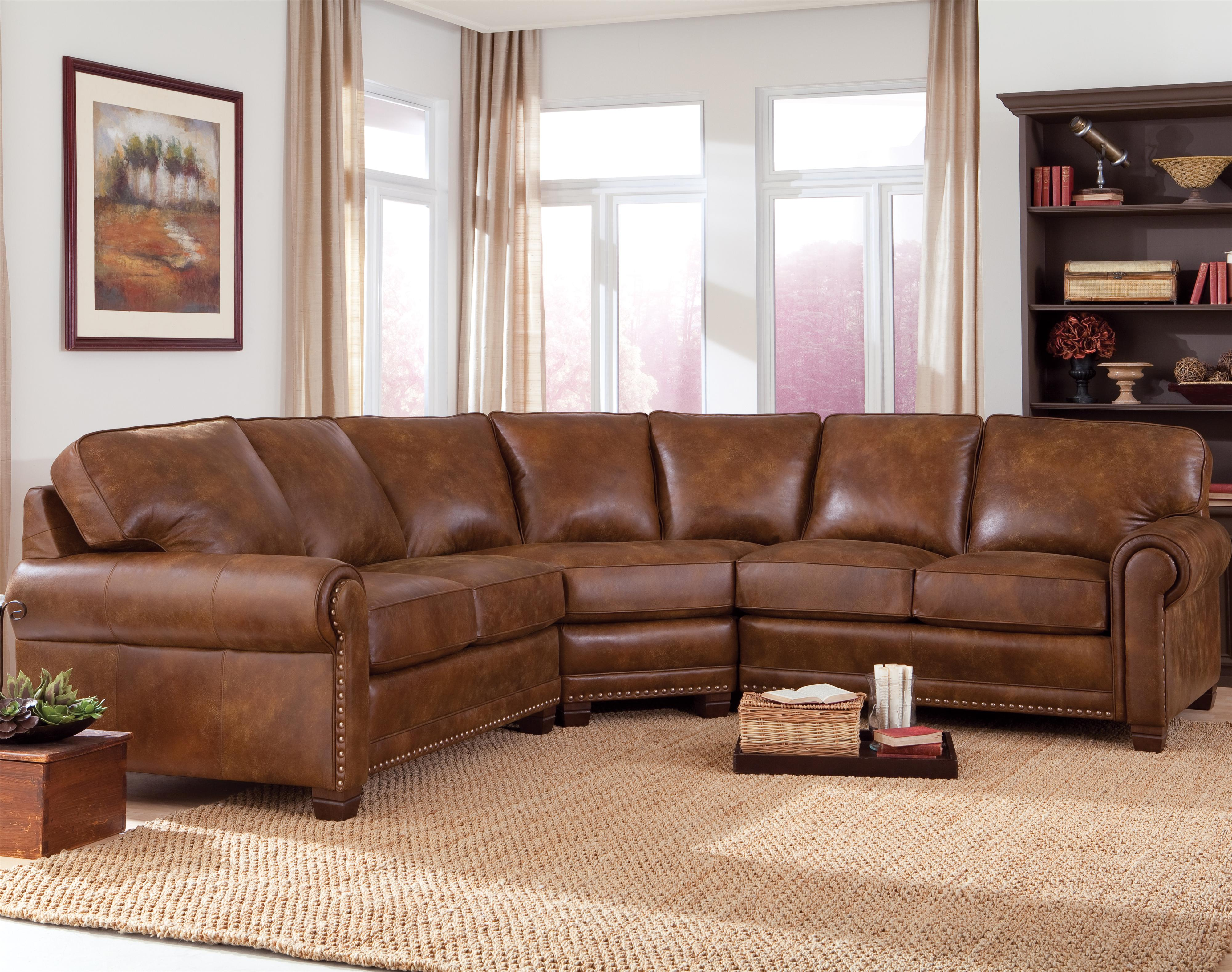 pictures of living rooms with brown sectionals best price room furniture smith brothers 393 traditional 3 piece sectional sofa nailhead trim by