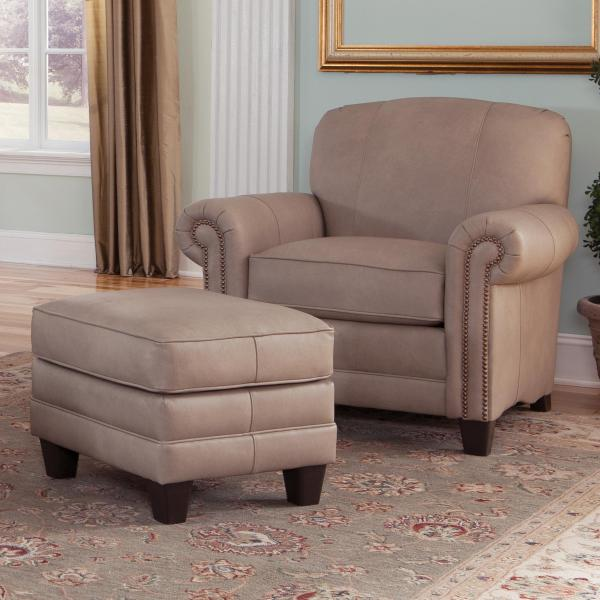 Smith Brothers 397 Chair And Ottoman With Tapered Block