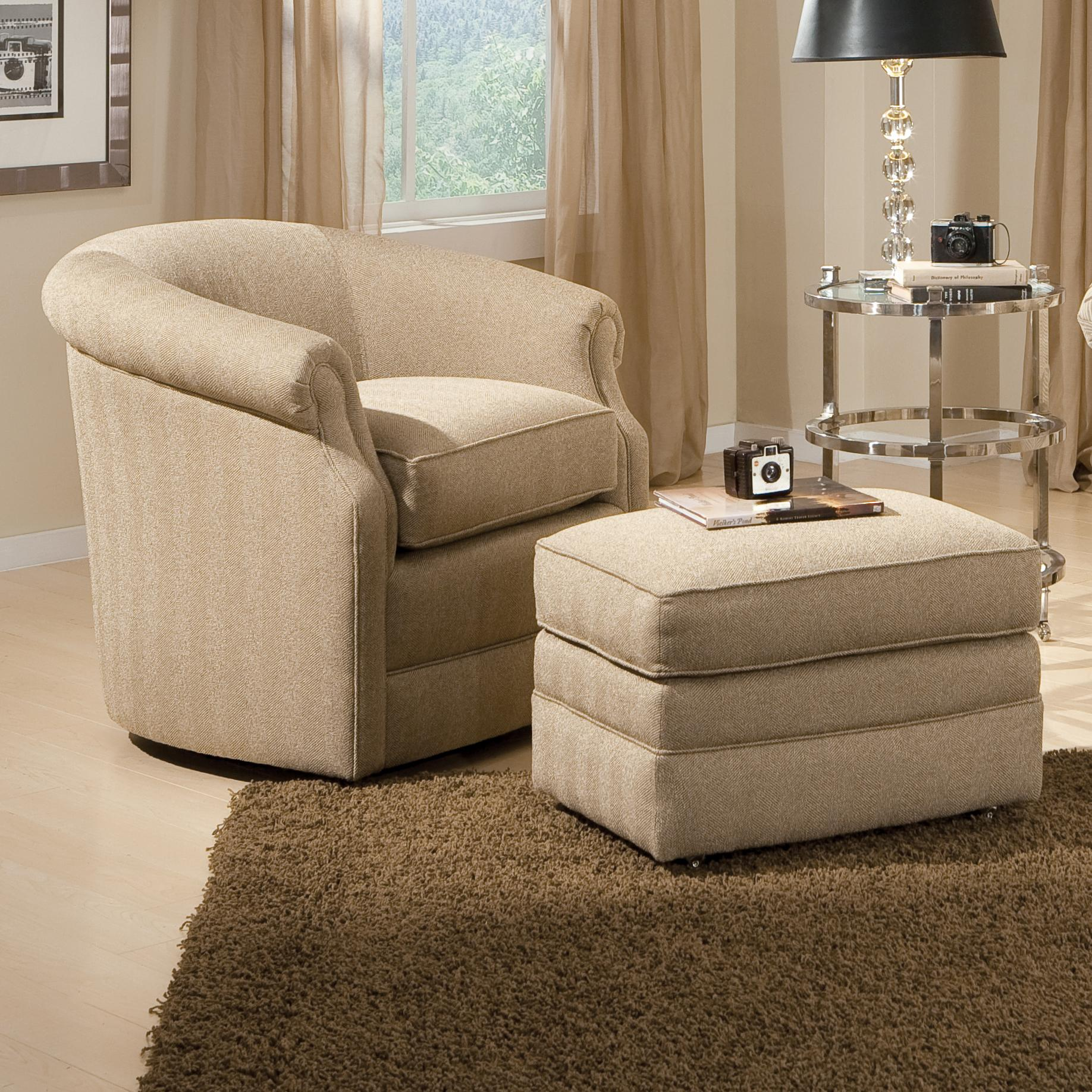 Accent Chair Living Room Accent Chairs And Ottomans Sb Barrel Swivel Chair And Ottoman With Casters By Smith Brothers At Dunk Bright Furniture
