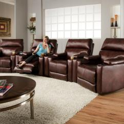 Theater Living Room Furniture Rustic Country Decorating Ideas Southern Motion Tango Seating Group With 4 Lay Flat Recliners And Cup Holders By