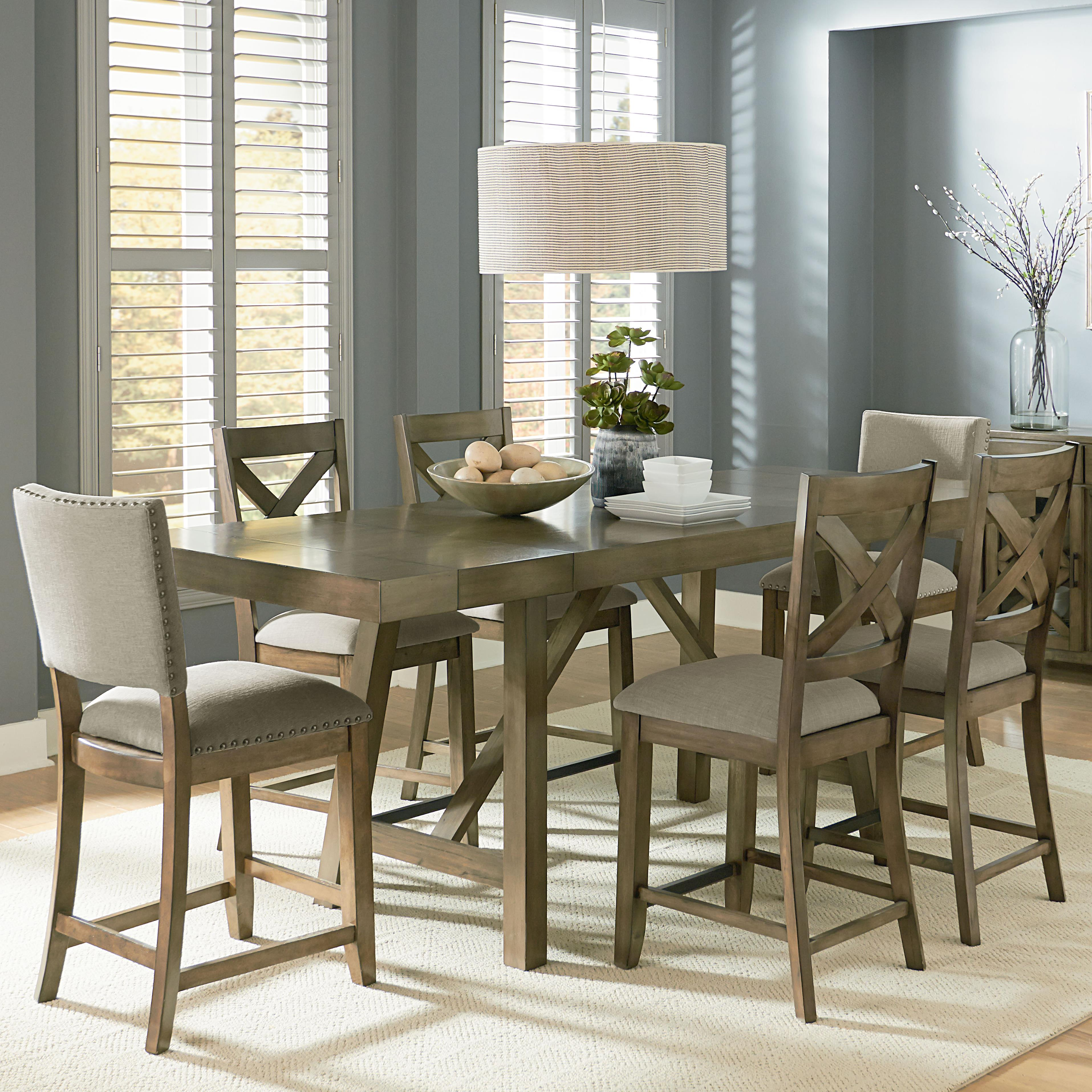 7bcdda43b915 Omaha Grey Counter Height 7 Piece Dining Room Table Set By Standard  Furniture At Dunk Bright Furniture