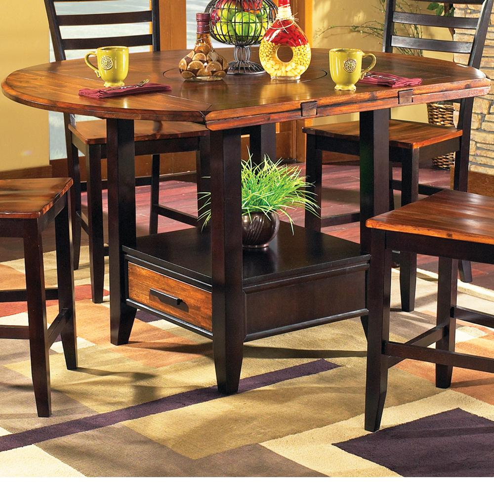 Steve Silver Abaco Solid Wood Acacia Top Round Storage Base Counter Table With Drop Leaves Northeast Factory Direct Pub Tables