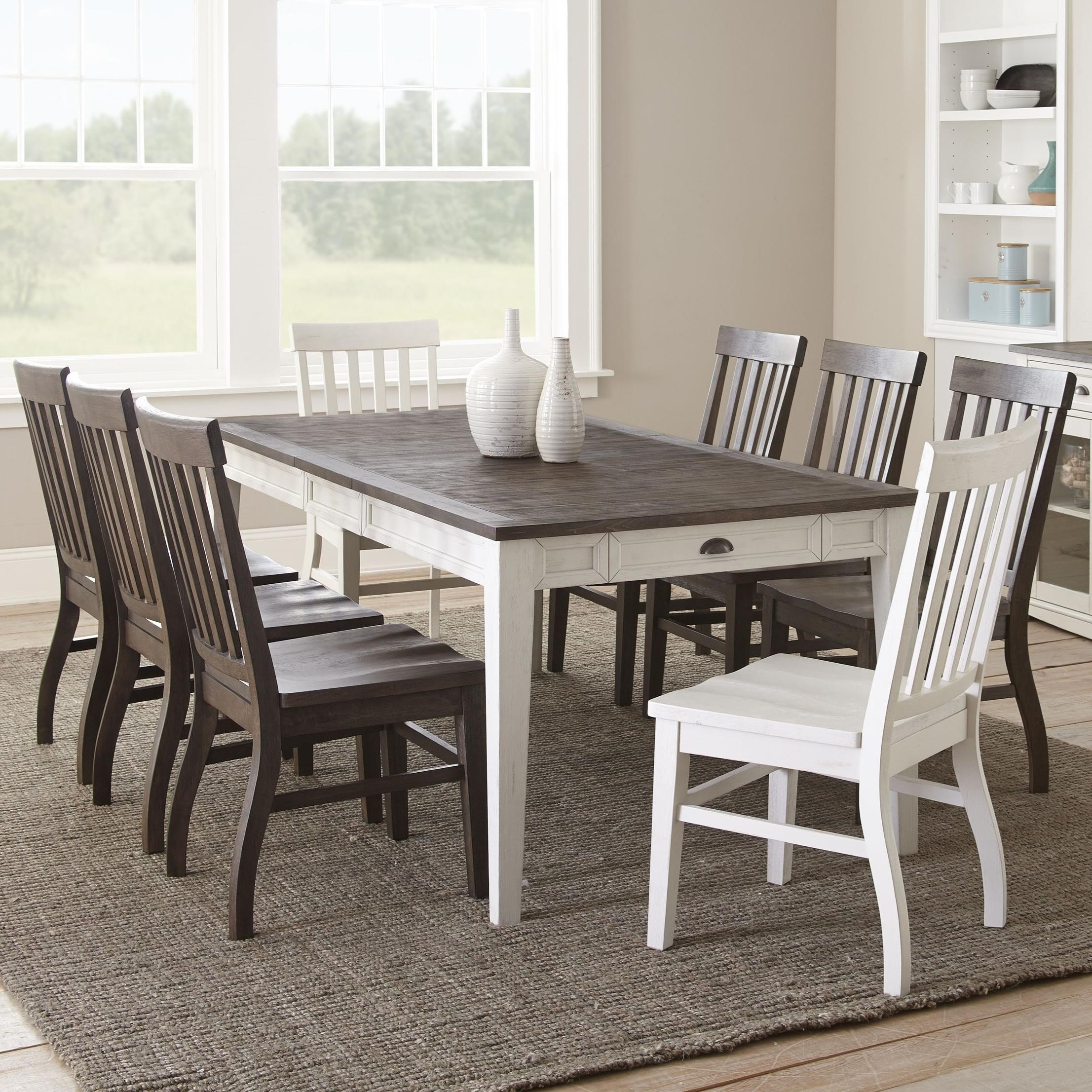Black Dining Room Table And Chairs Cayla 9 Piece Two Tone Table And Chair Set By Vendor 3985 At Becker Furniture World