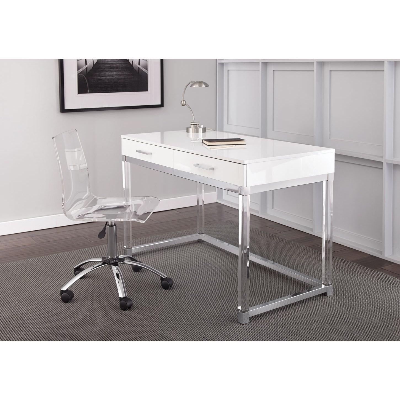 Vendor 3985 Everett Chrome and Acrylic Writing Desk and