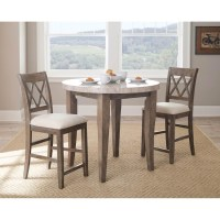 Steve Silver Franco 3 Piece Marble Counter Height Dining ...