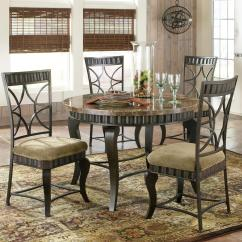 Steve Silver Dining Chairs Browning Directors Chair Hamlyn 5 Piece Round Faux Marble Top Metal Table Set