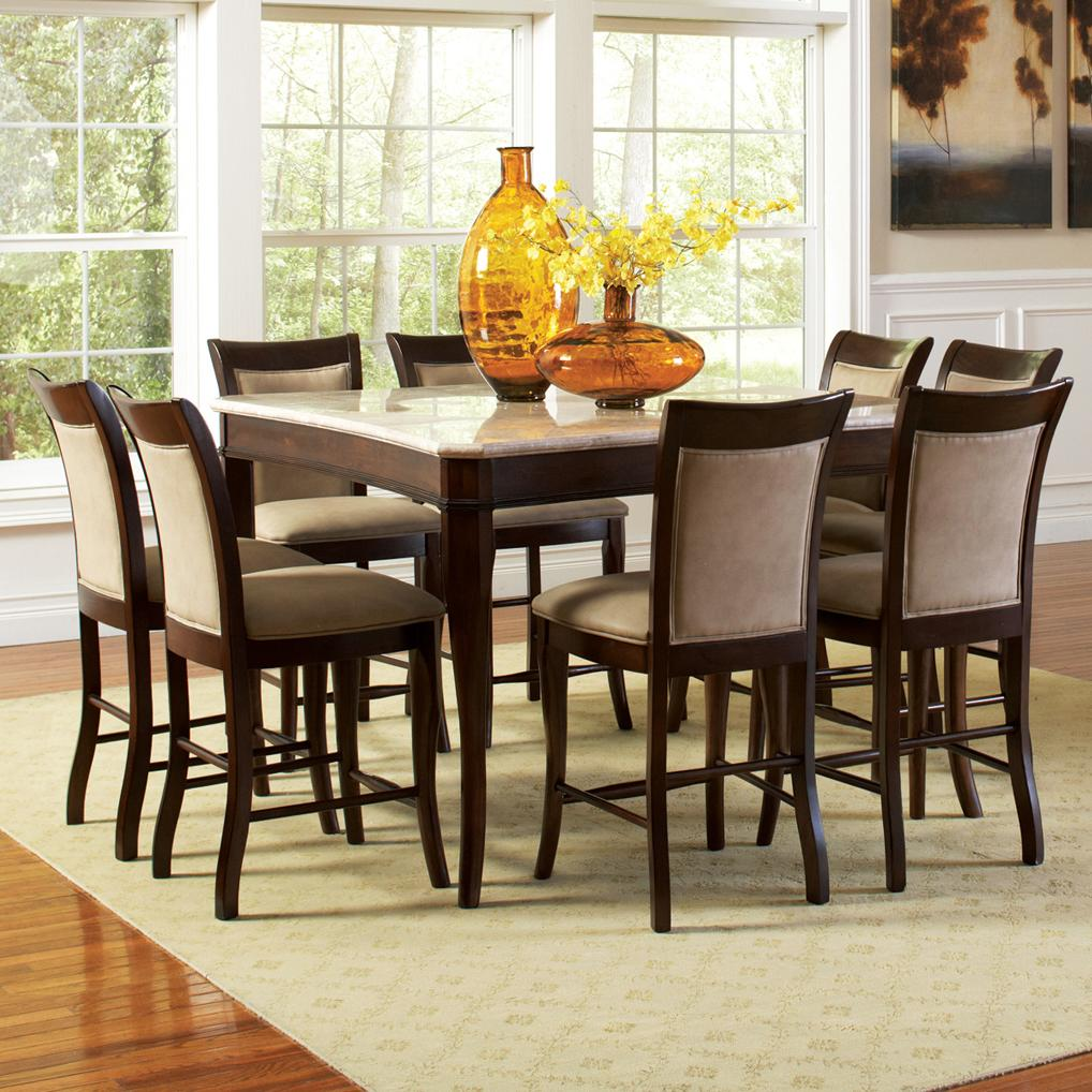 steve silver dining chairs lean forward chair marseille 9 piece marble top pub table and upholstered counter height set