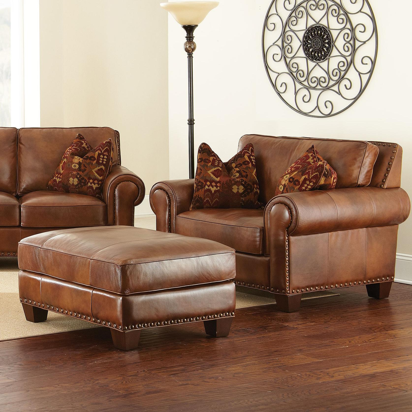 Leather Chairs With Ottoman Silverado Chair And A Half With Ottoman And Nailhead Trim By Vendor 3985 At Becker Furniture World
