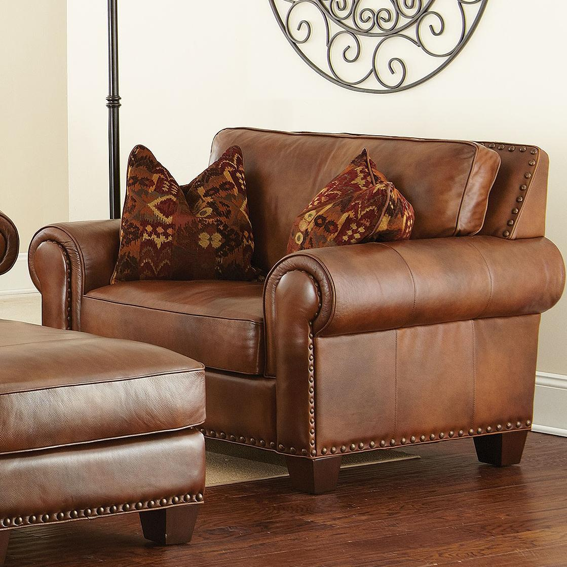 Rustic Leather Chairs Silverado Traditional Chair And A Half With Nailhead Trim By Vendor 3985 At Becker Furniture World