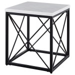 Steve Silver Skyler Contemporary White Marble Top Square End Table Value City Furniture End Tables