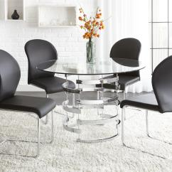 Steve Silver Dining Chairs Kids Computer Chair Tayside 5 Piece Round Glass Table Set With Chrome