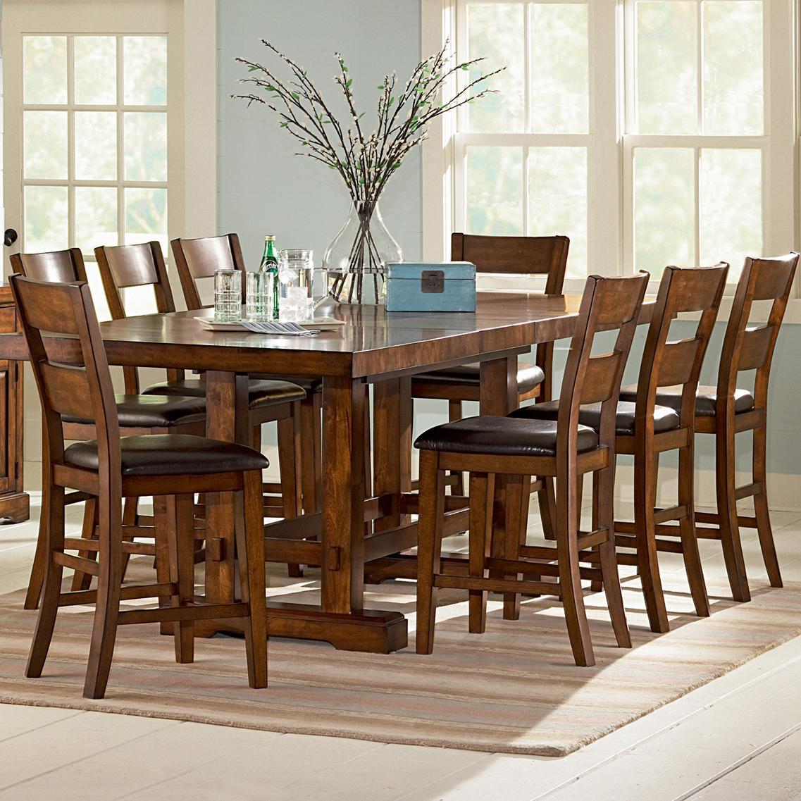 Vendor 3985 Zappa 9 Piece Counter Height Table Chair Set Becker Furniture Pub Table And Stool Sets