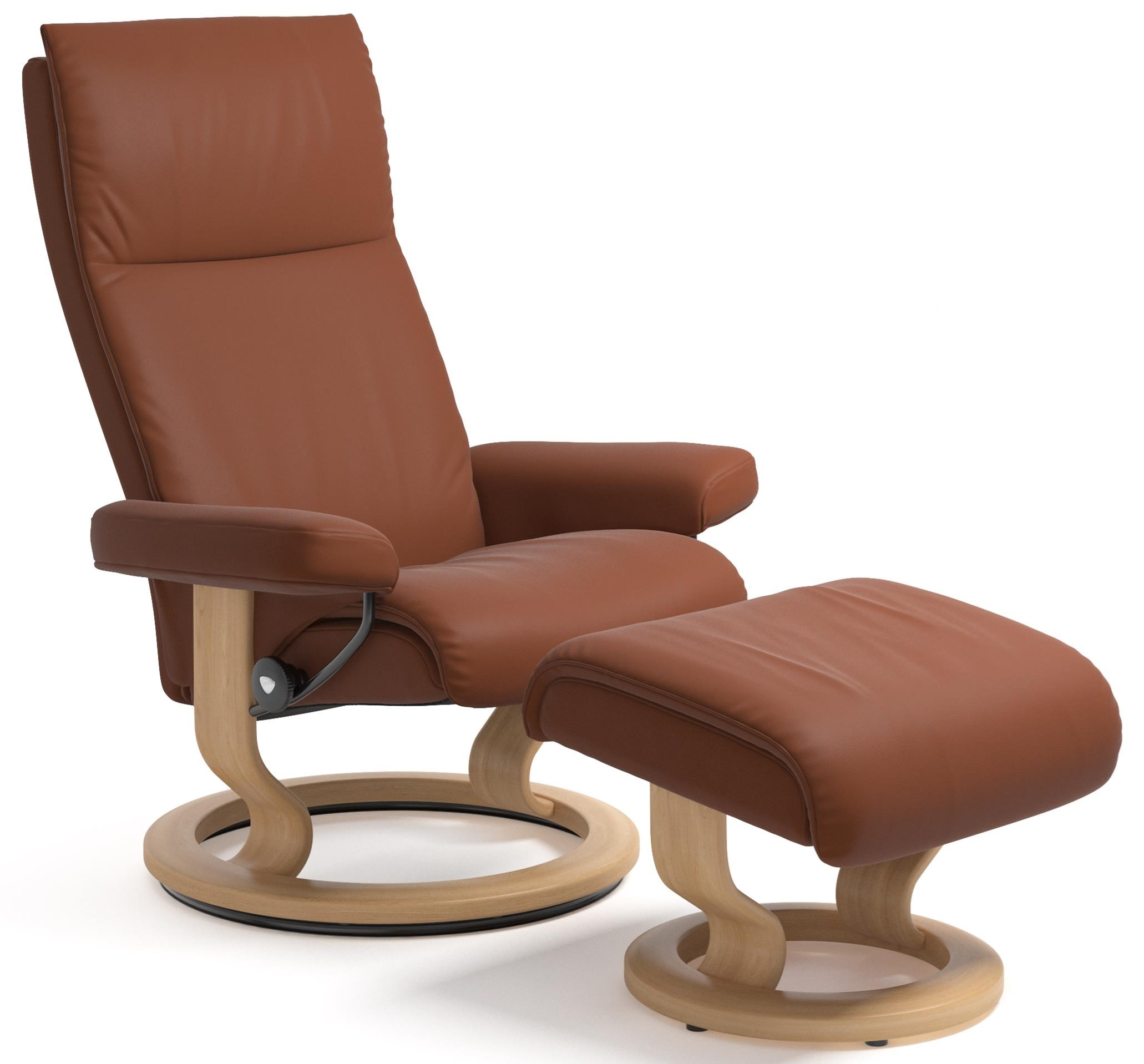 Stressless Aura Small Reclining Chair and Ottoman with
