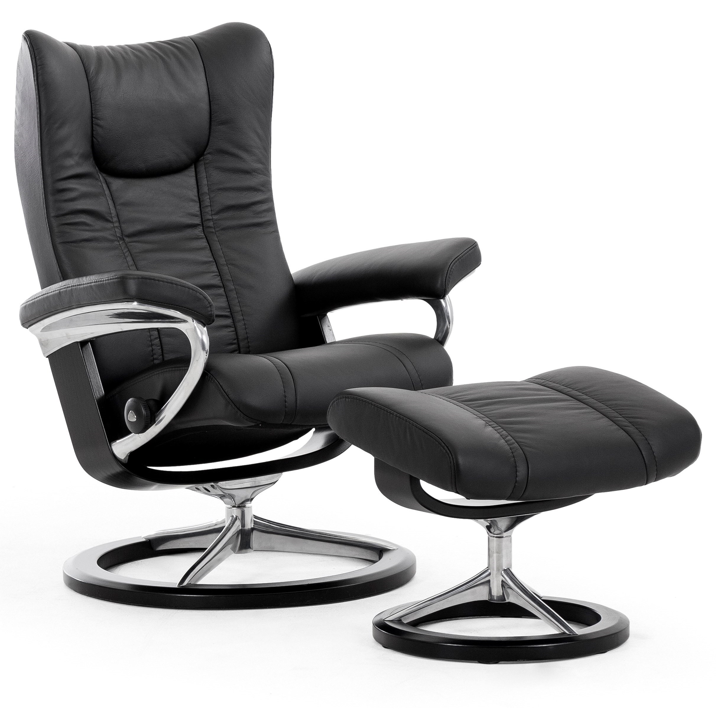 Stressless Wing Small Reclining Chair and Ottoman with