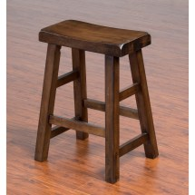 """Sunny Design Savannah Solid Wood Saddle Seat Stool 24"""""""