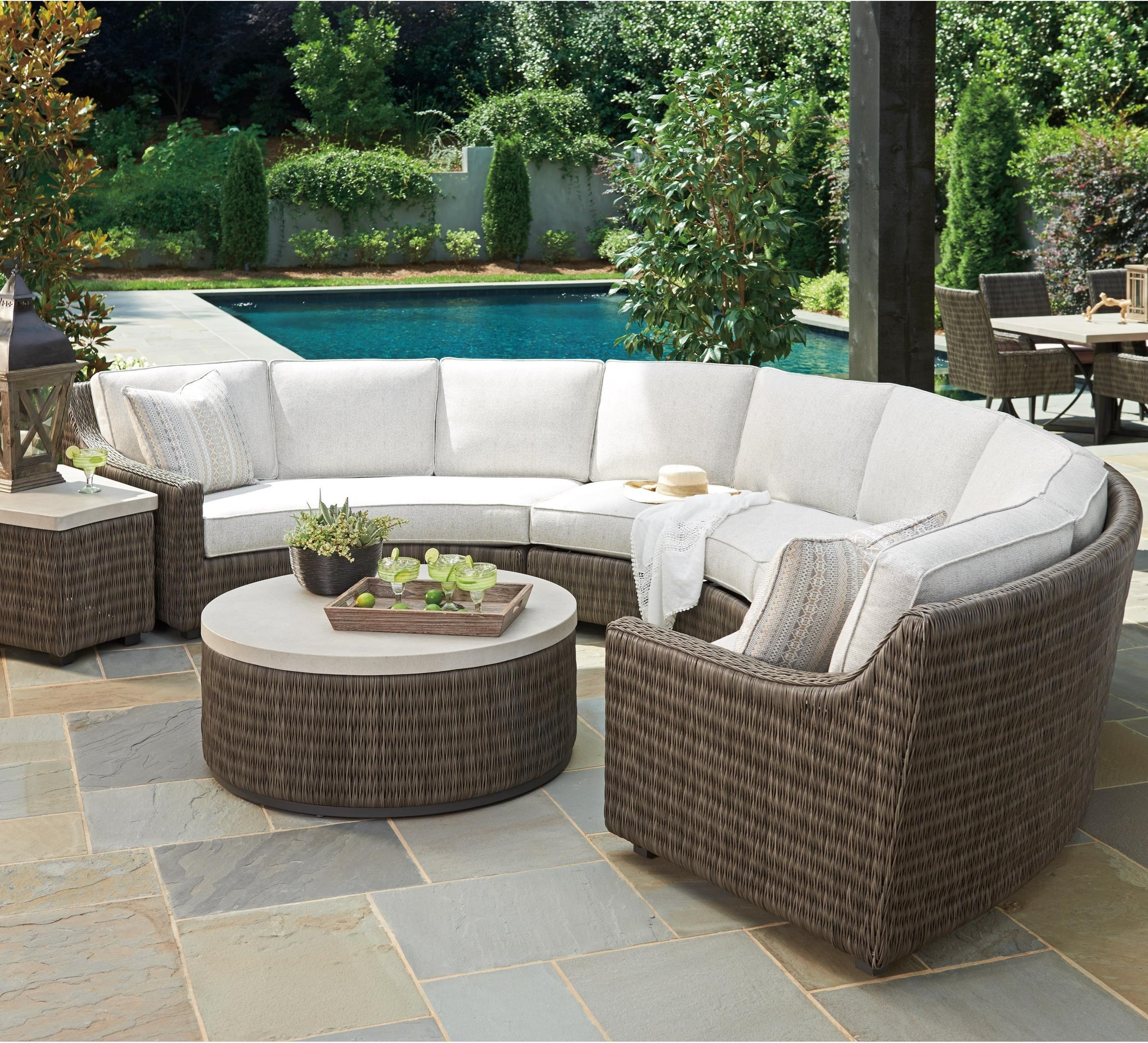 Tommy Bahama Outdoor Living Cypress Point Ocean Terrace 6 Seat Outdoor Curved Sectional Sofa With Weatherproof Box Cushions Baer S Furniture Outdoor Sectional Sofa Groups