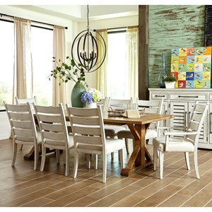 dining room tables and chairs chair covers by sylwia trisha yearwood home collection klaussner coming nine piece set with homecoming table contrasting ladderback royal