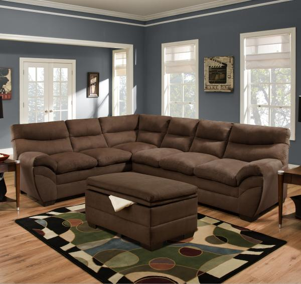 Simmons Upholstery 9515 Casual Sectional Sofa Dunk & Bright Furniture Sofas