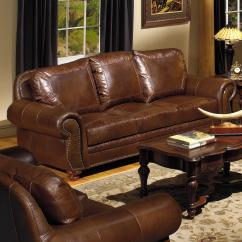 Nailhead Recliner Sofa Sepse Usa Premium Leather 8555 Traditional With ...