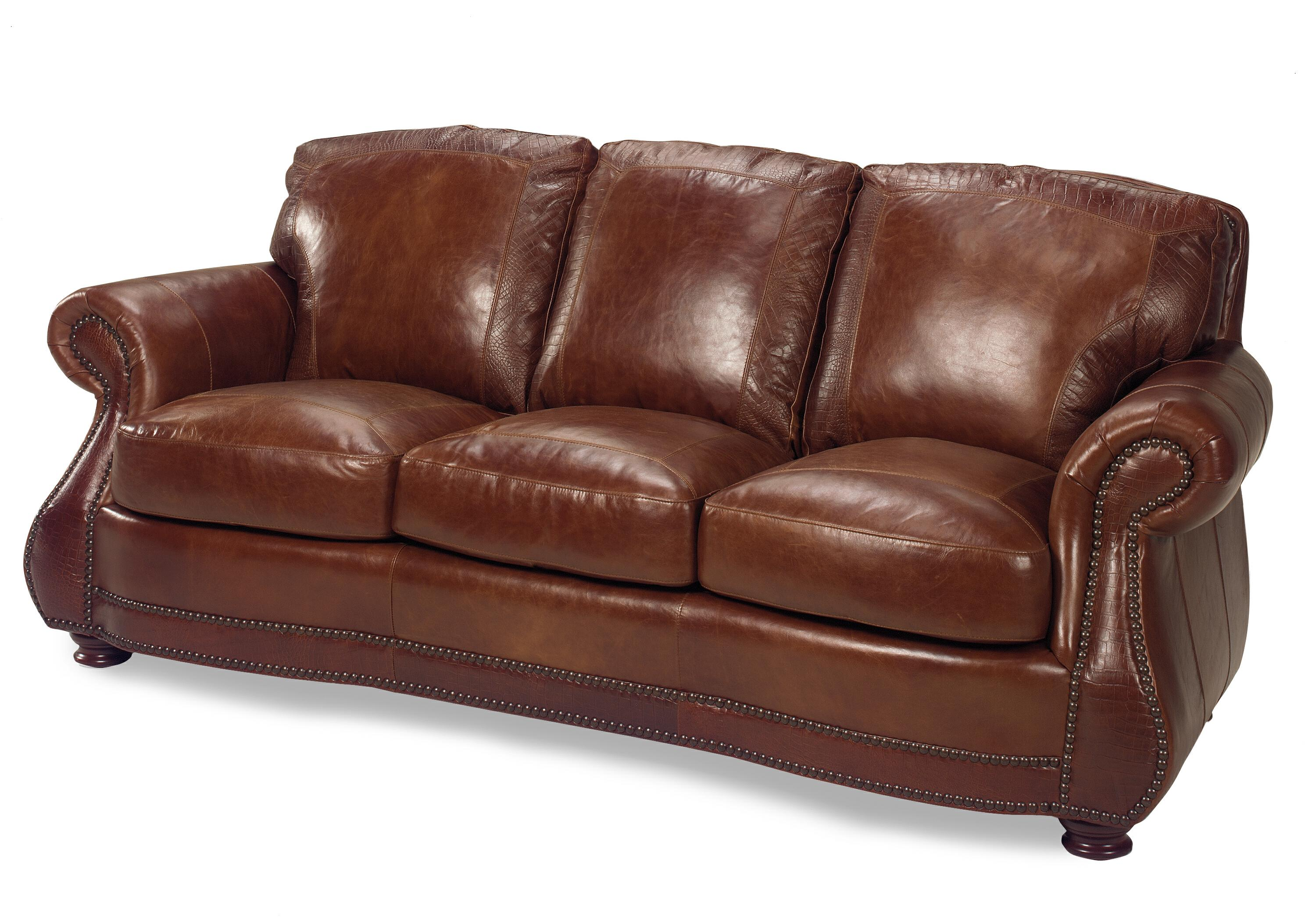 USA Premium Leather 9055 Traditional Roll Arm Sofa W Alligator Dream Home Furniture Sofas