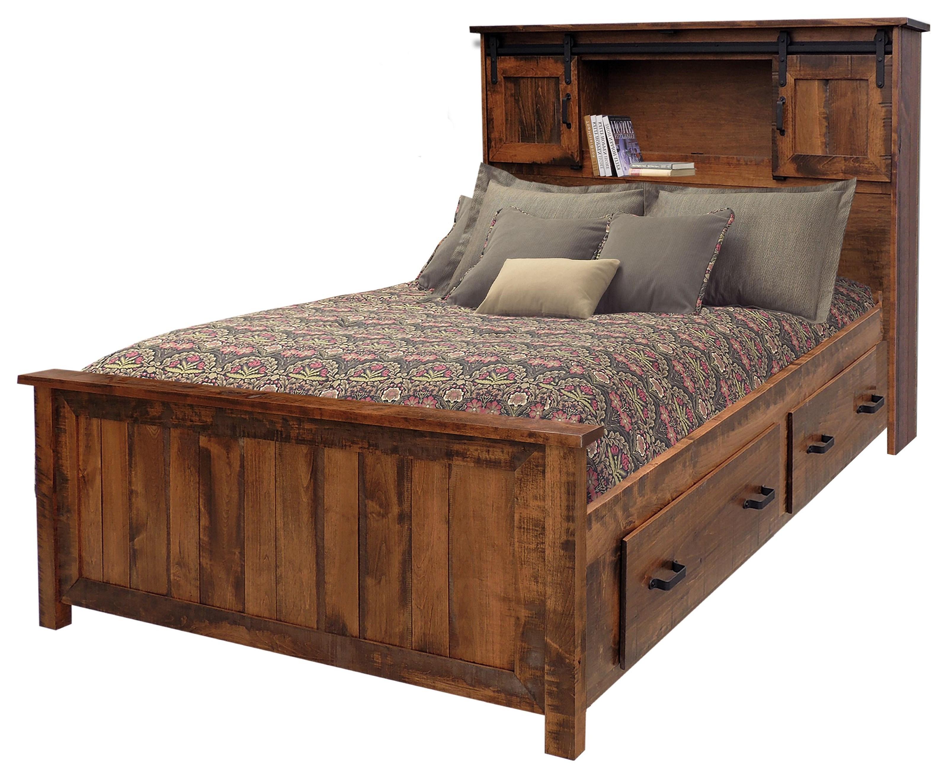 Wayside Custom Furniture Bear Creek Queen Bookcase Storage Bed Wayside Furniture Bookcase Beds
