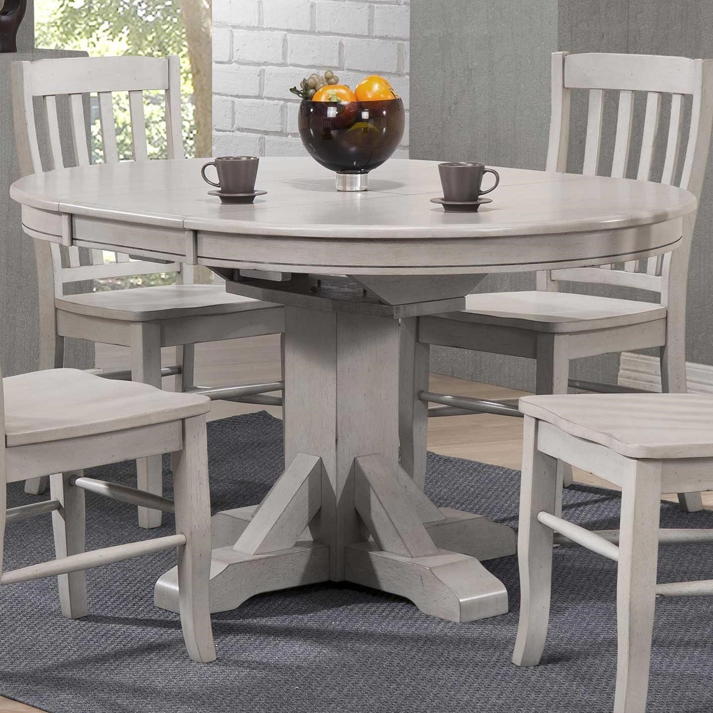 Winners Only Carmel 57 Pedestal Table W 15 Butterfly Leaf And Rustic Brown Finish Conlin S Furniture Dining Tables