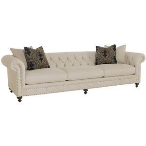bernhardt riviera large sofa bassett leather with tufted back and nailhead trim ...