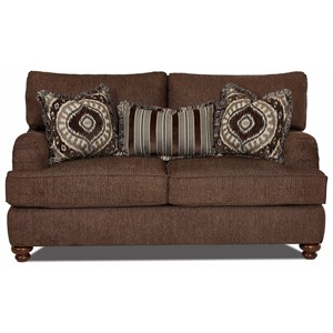 klaussner sofa and loveseat set cotton twill fabric declan k42200f s traditional with turned ...