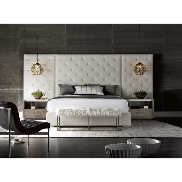 Universal Modern Brando Cal King Bed with Tufted Panels ...