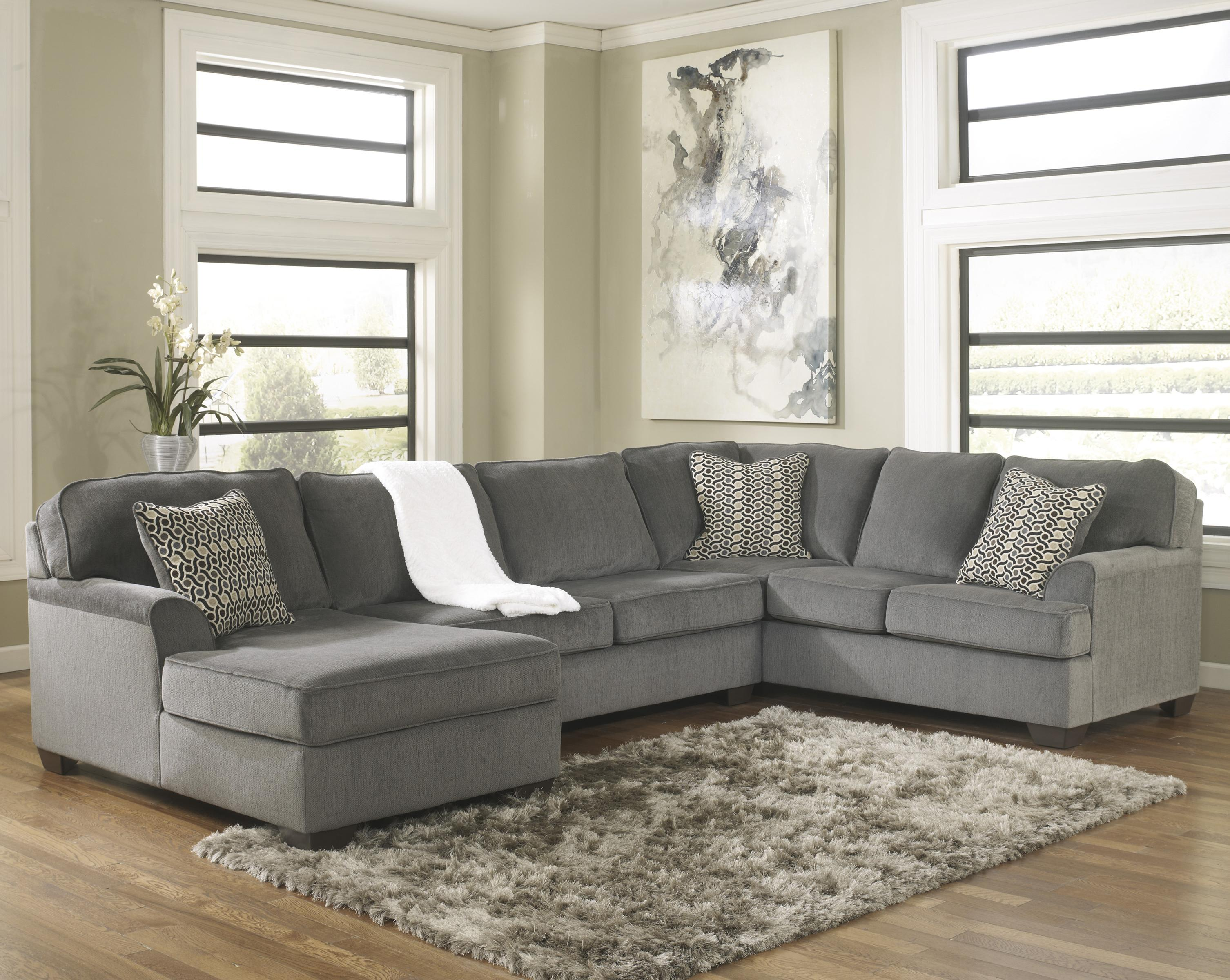ashley furniture modern sofa leather and velvet loric smoke contemporary 3 piece