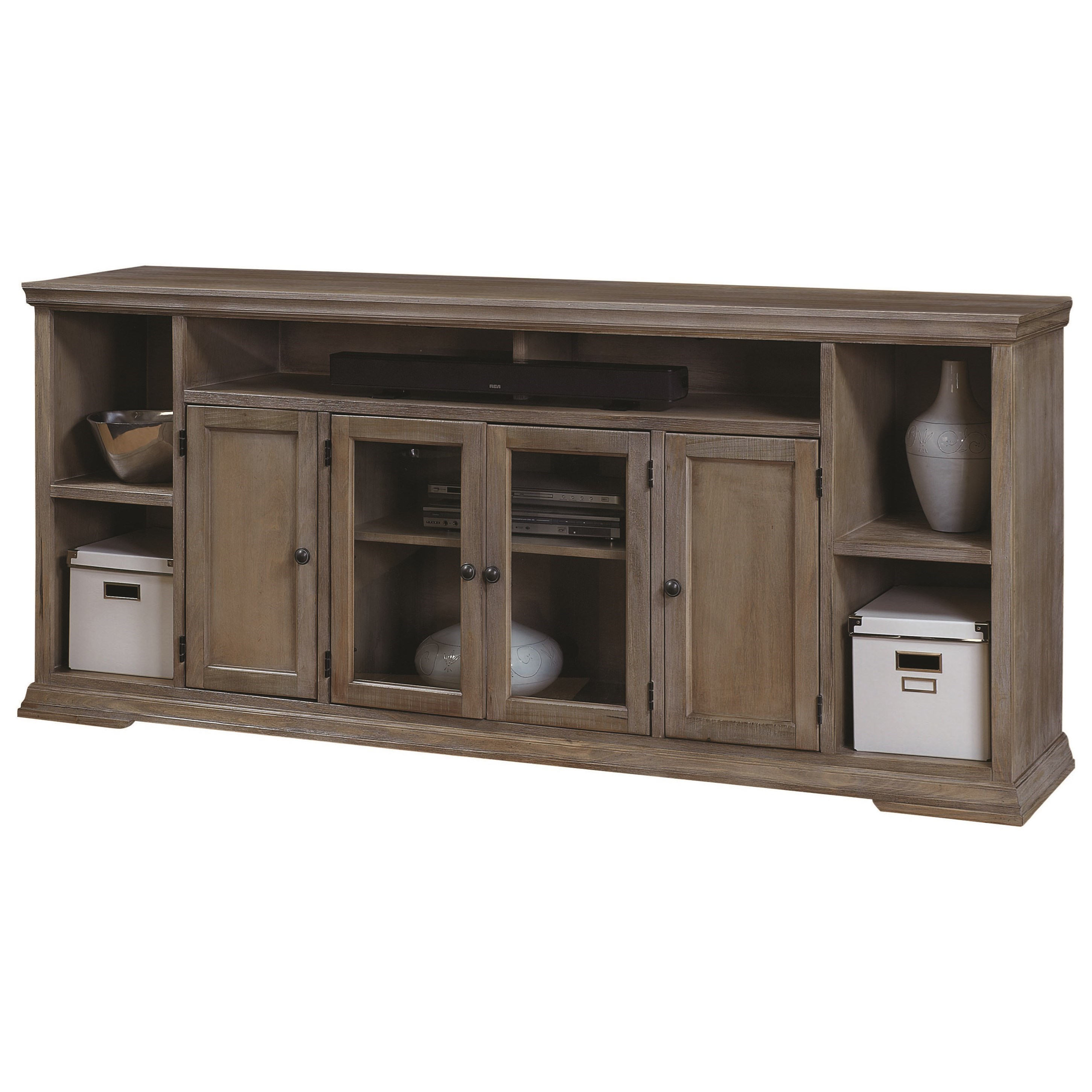 sofa table 84 inches alternative to covers aspenhome canyon creek inch tv console with 4 doors and