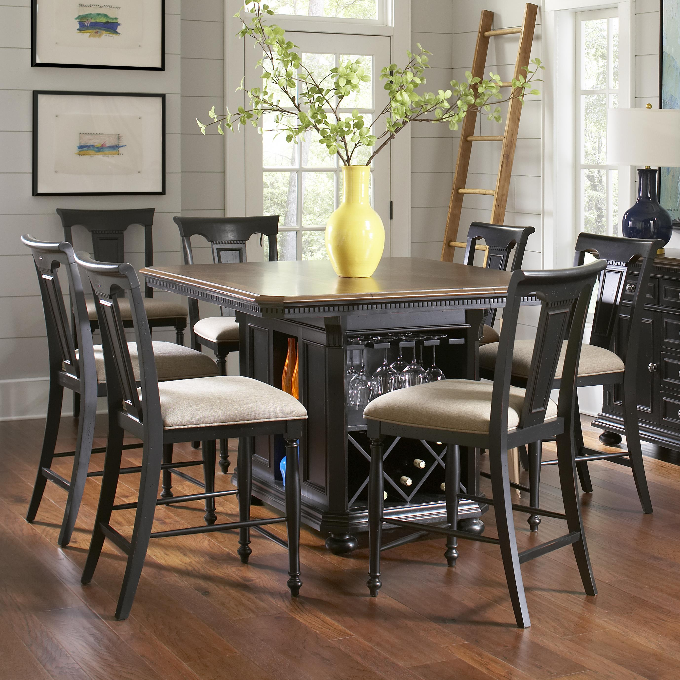 kitchen island table with chairs replacement drawer avalon furniture rivington hall traditional 7 piece
