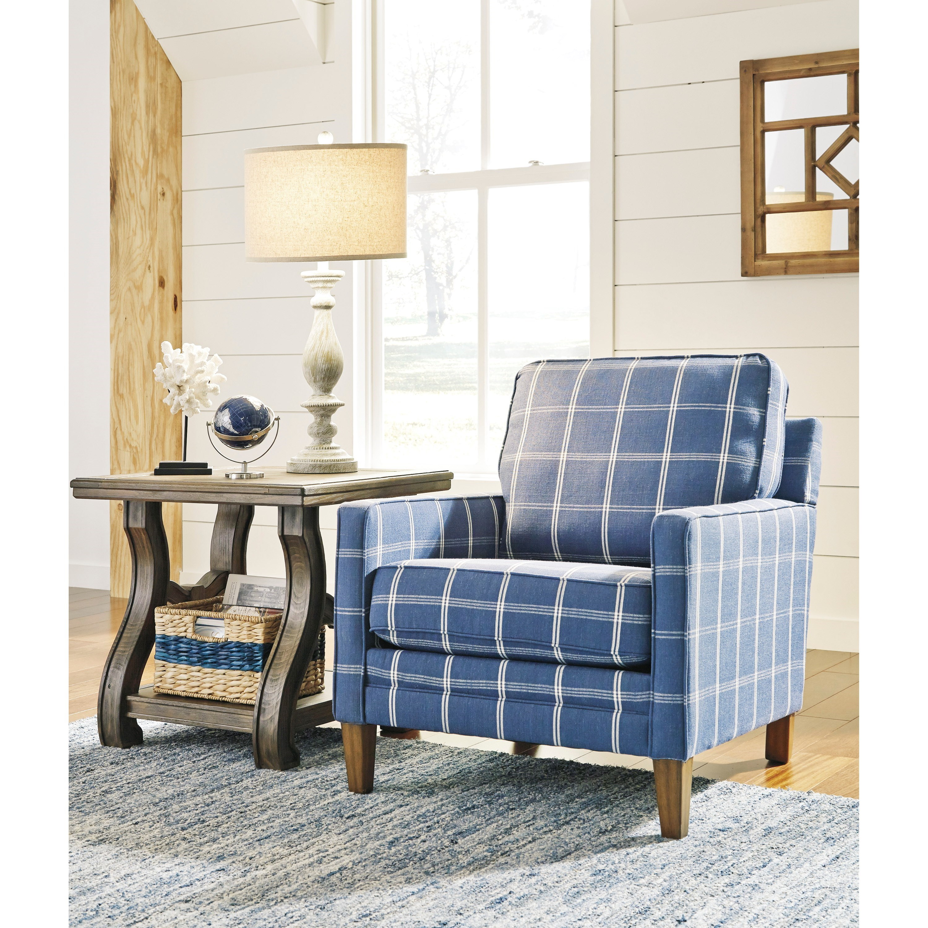 Blue Living Room Chairs Benchcraft Adderbury 1440321 Blue Plaid Accent Chair With