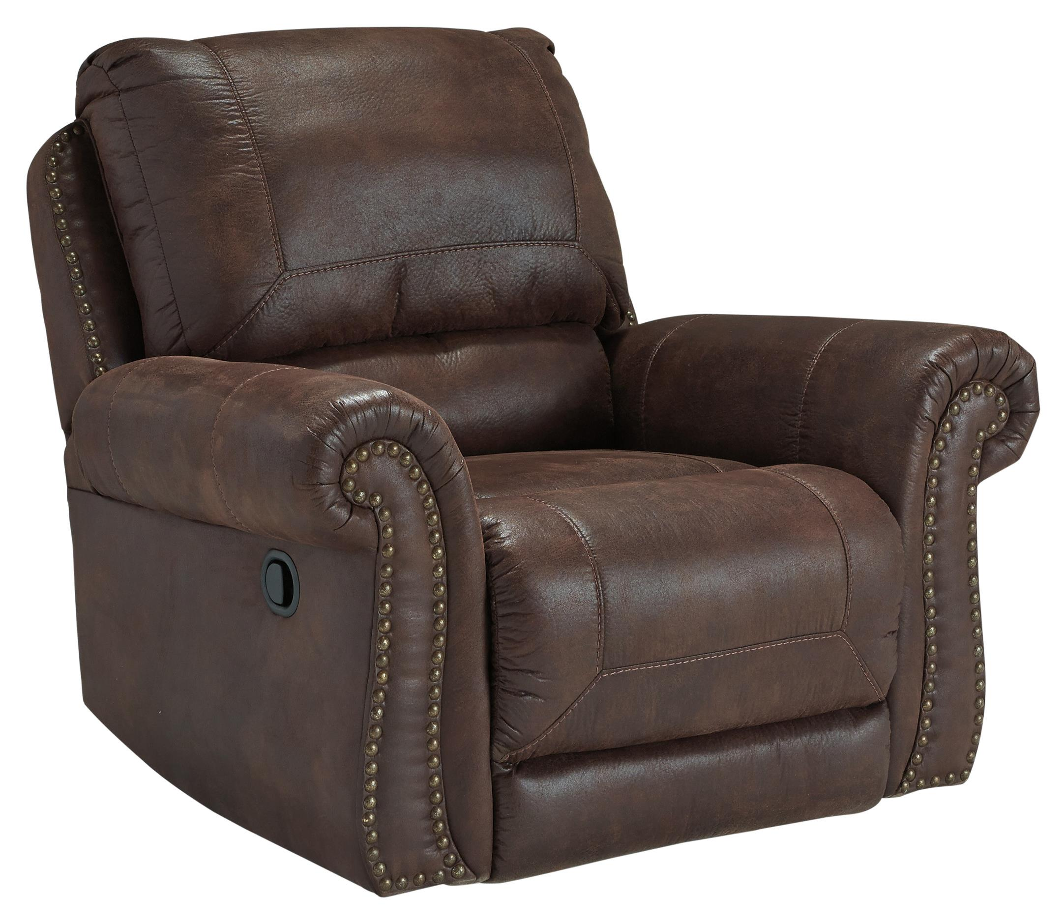 rolled arm sofa with nailhead trim reasonably priced sofas benchcraft breville faux leather rocker recliner