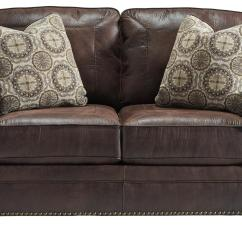 Rolled Arm Sofa With Nailhead Trim Hickory Hill Slipcovers Benchcraft Breville Faux Leather Loveseat Arms
