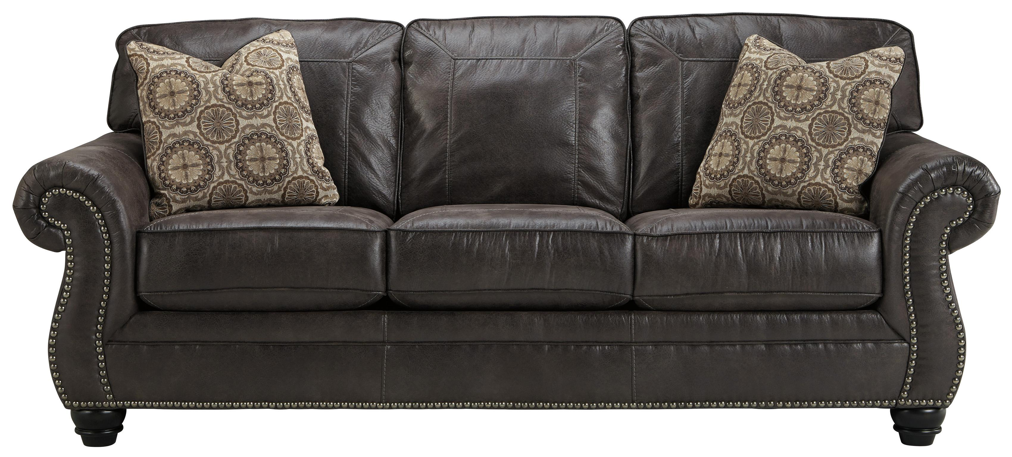 leather nailhead sofa set brown table benchcraft breville faux with rolled arms and