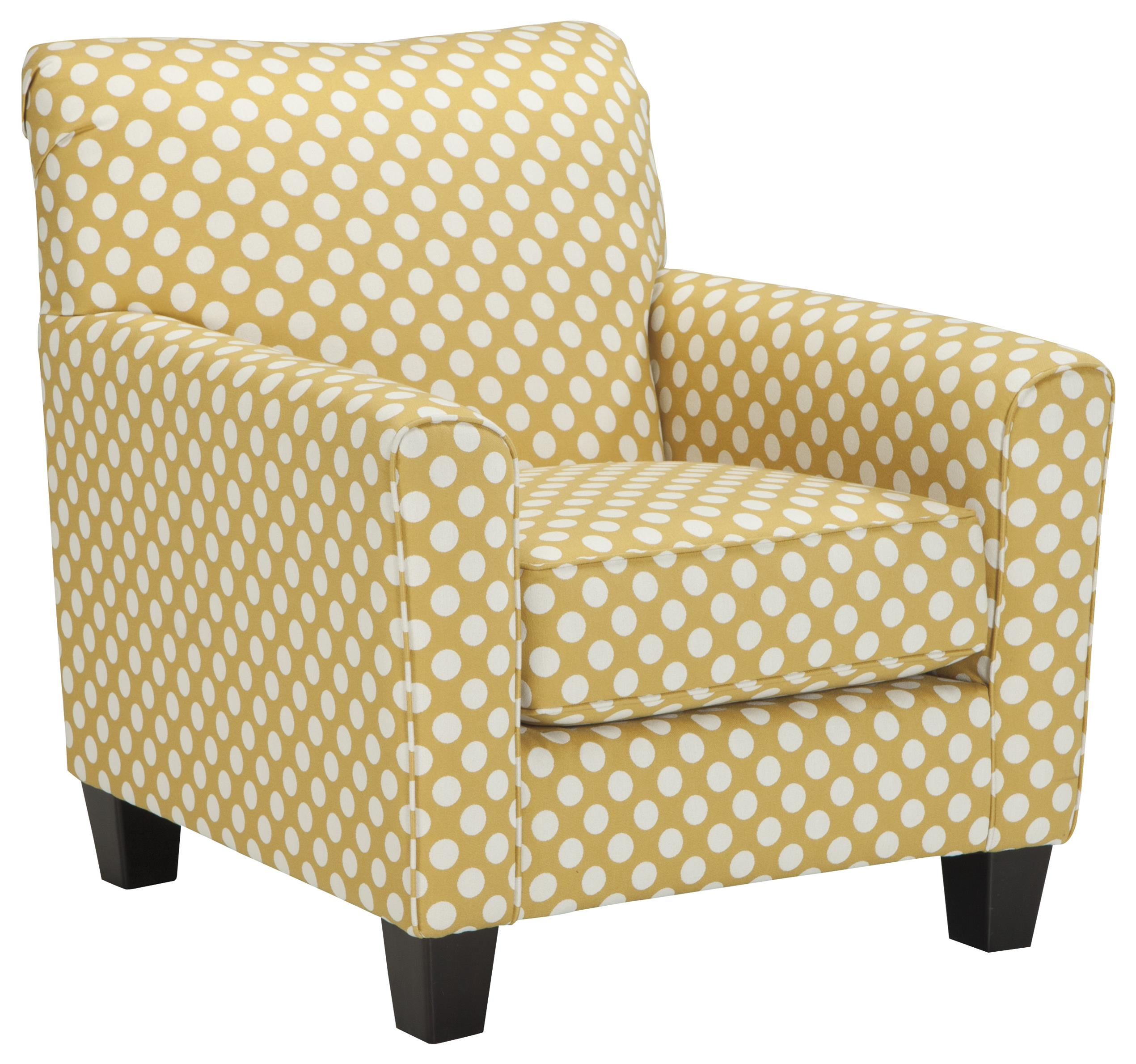 polka dot rocking chair cushions wedding covers lace benchcraft brindon accent in yellow fabric with