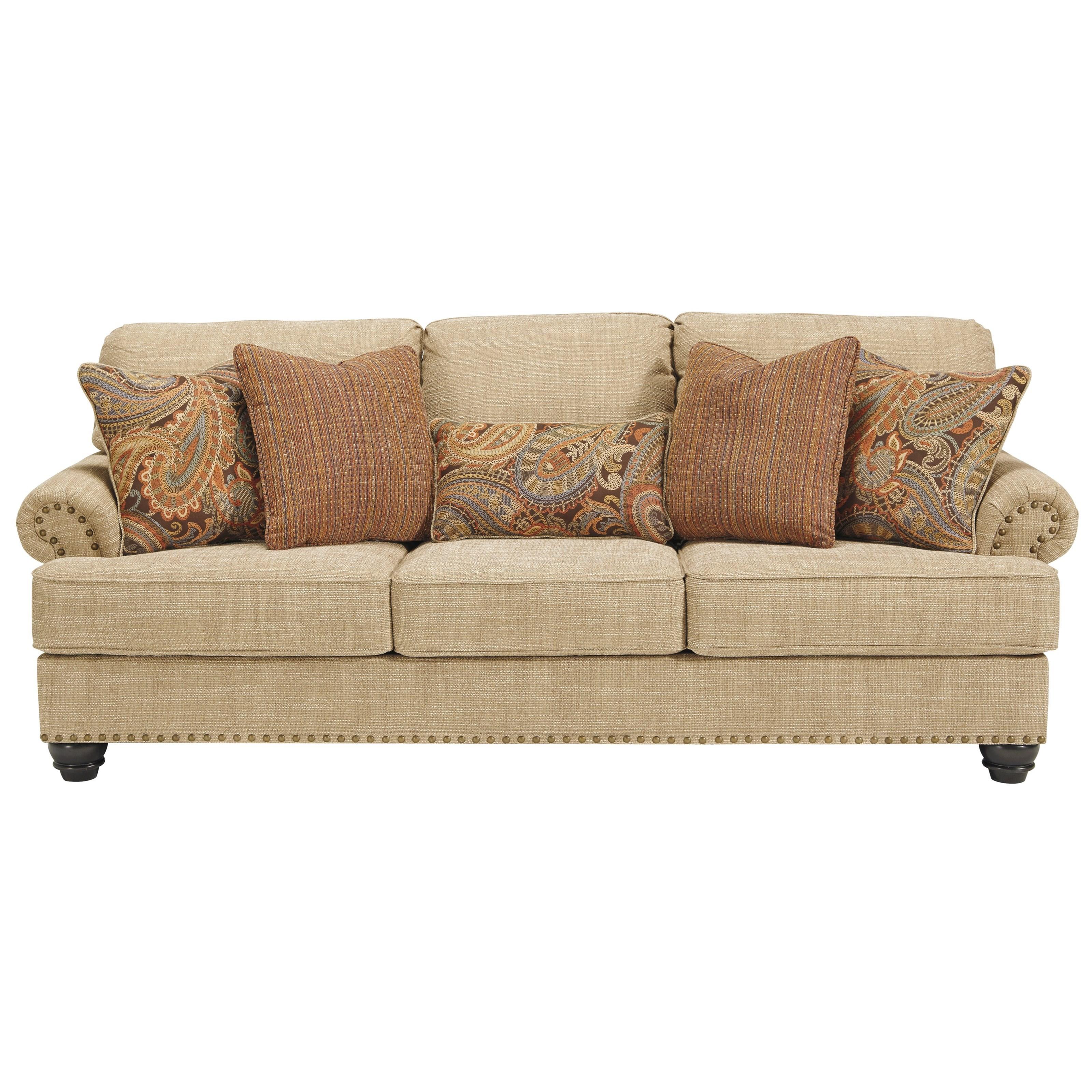 nailhead trim sofa ashley red velvet sofas benchcraft by candoro with nail head