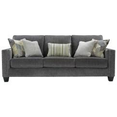 Contemporary Sofa With Wood Trim Black Furniture Benchcraft Gavril Nailhead