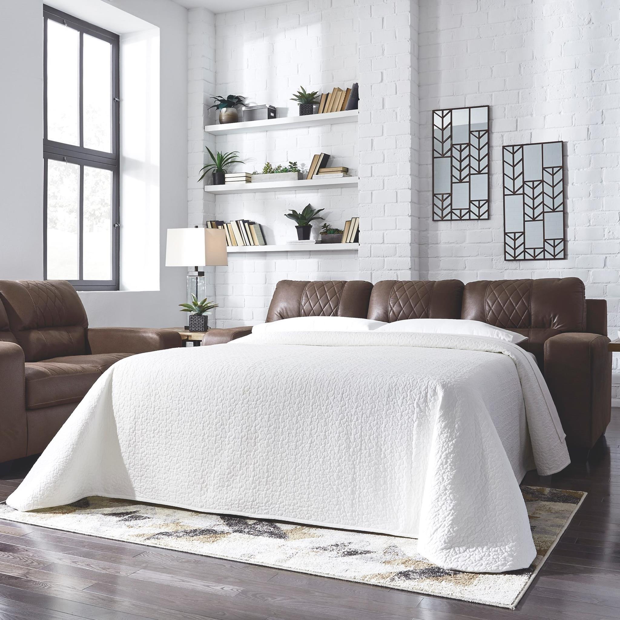 sh memory foam sleeper sofa mattress microsuede benchcraft narzole contemporary with bi fold