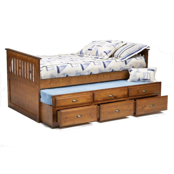 Twin Captains Bed with Trundle Drawers