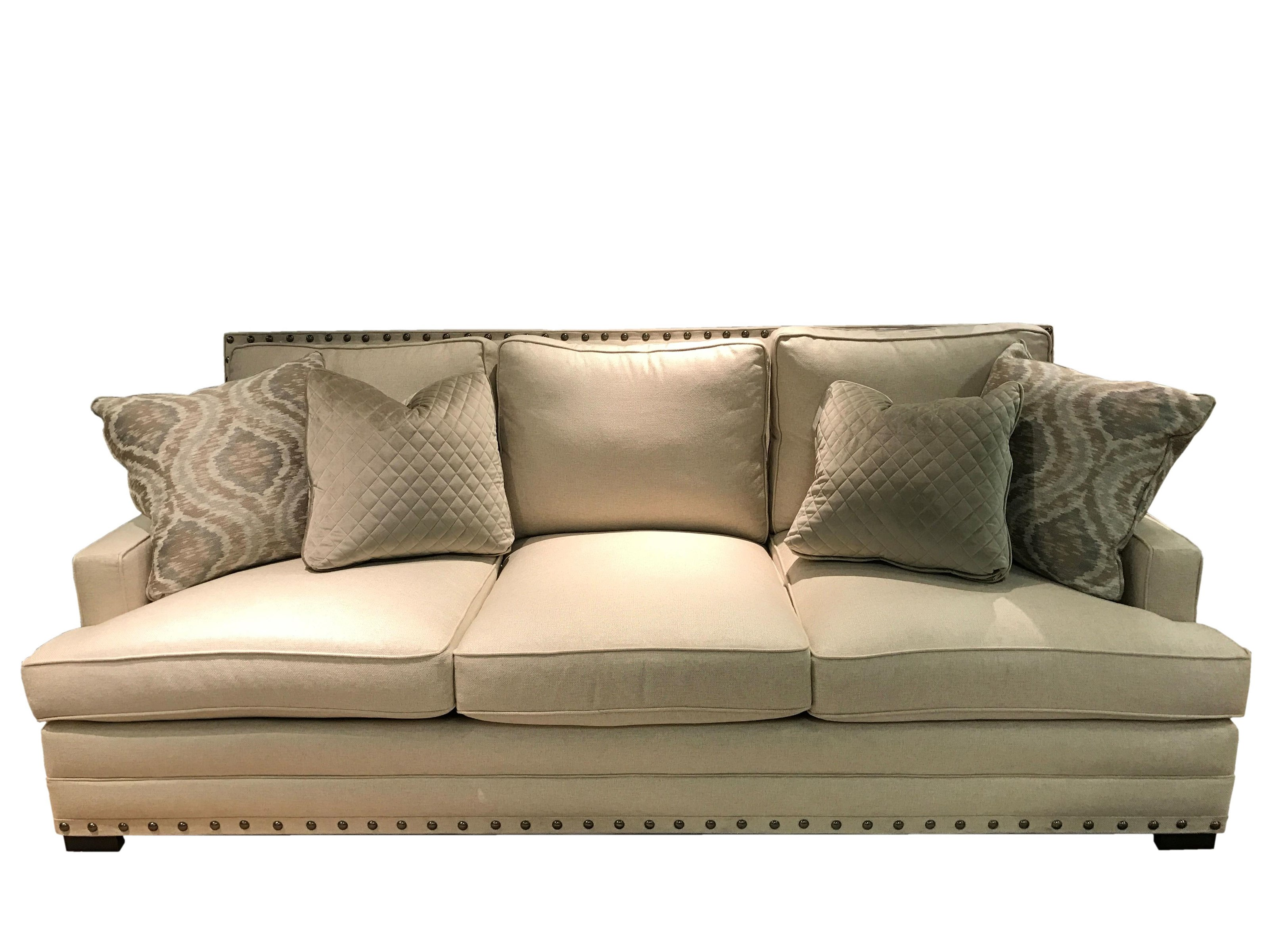 bernhardt cantor sectional sofa doctor philadelphia with nail head trim and low set arms